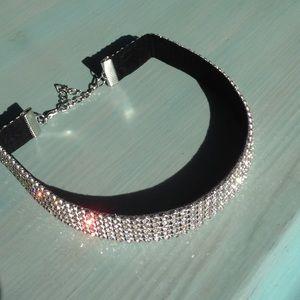 Jewelry - ⬇️Sparkle Rhinestone Velvet Choker Silver